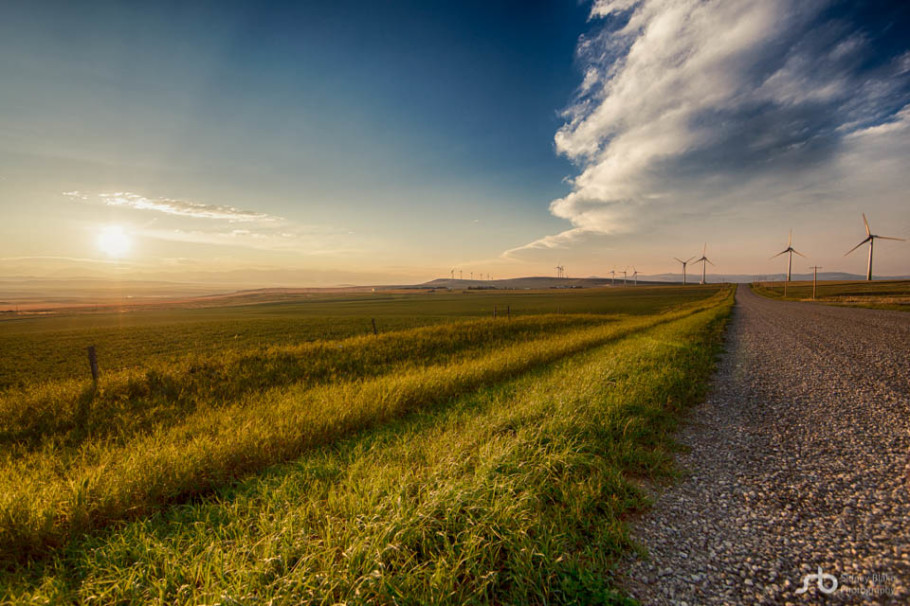 Alberta landscape, Alberta Prairies, rural Alberta, agriculture, farmland, sunset, gravel roads, Canadian Rockies, wind turbines, wind farms, Pincher Creek